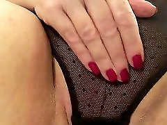 Sexy granny black panties stroking slapping fat pussy to cum