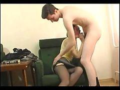 Skinny granny in open hose fucks a boy