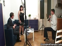 Fat bitch is double fucked after photosession
