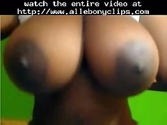 Big brown juggs with dark areolas black ebony cumshots