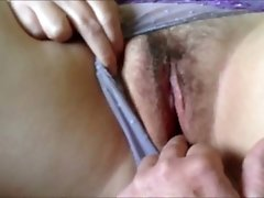 Teasing her mature wet pussy