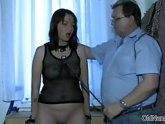 Nasty young slut gets sodomized by an old couple by old
