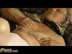 Omapass Senior With Hairy Pussy Masturbating