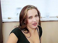 Busty milf seduces bald guy to sex