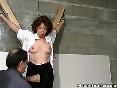 Hot brunette bitch gets bound and spanked 1 by maturesp
