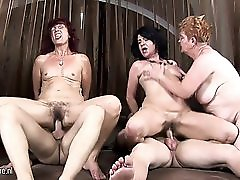 Three mature mothers get fucked by two horny men
