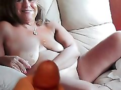 Cum tribute on the face and tits of sexy mature Lucy