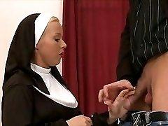 Blonde nun fucked up the ass