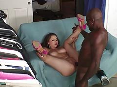 Beautiful girl masturbates with a dildo before black cock fuck