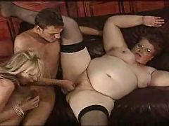 2 Mature Ladies Get Pounded Hard During A Tea Party
