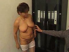 Granny In White Stockings Fucks In The Office