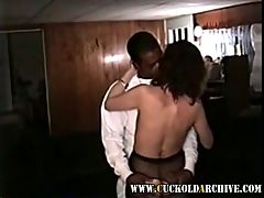 Cuckold milf sucking and fucking black guy while i watch