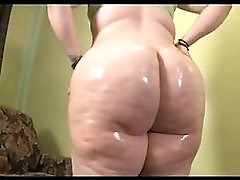 BBW Oiling Up Her Big White Booty