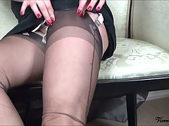 Classy Nylon Slut With Glass Dildo