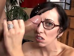 Brunette In Glasses Strokes For A Facial