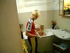 Mature Blonde & Young Blonde Have Fun In The Bath Tub