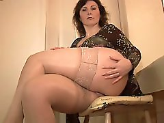 Big tits mature babe striptease