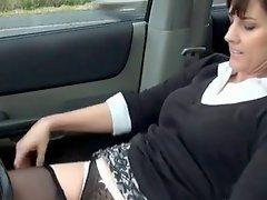 Horny mature masturbating in her car