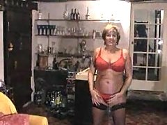 Mature lady strips