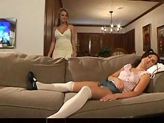 Lesbian alana evans with babysitter