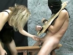 Old blonde lesbian rubs her cunt watching a guy getting