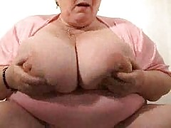 Leona granny with huge silicone free tits