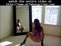 Big booty flexible ebony babe asscrobatics om