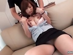 Sexy brunette milf gets horny getting her tits rubbed b