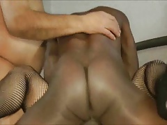 Cuckolding Hubby With A White And Black Cock Threesome