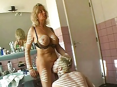 Hot granny having sex in bathroom