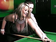 BBW blonde in nylon done on a pool table