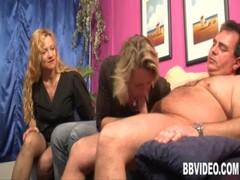 Blonde Bitch Fuck A Guy In Threesome