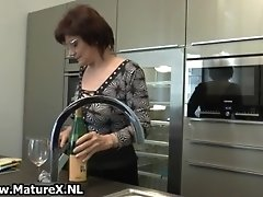 Mature housewife gets horny from wine and starts to mas