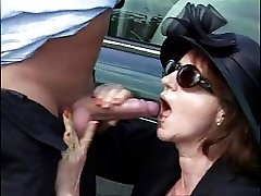 58 year old lady fucks her chauffeur and a hitchhiker