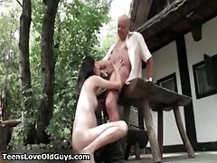 Cute Brunette Babe Gets Horny Sucking On An Old Cock 5