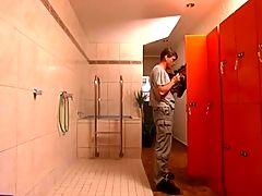 Sexy Hot German Blonde in male bathroom