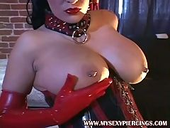 Pierced busty slut in latex fingered and fucked Piercings