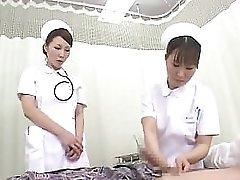 Horny Japanese nurses make blowing patients