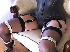 Bondage with sexy stockings & high heels black 6inch pumps