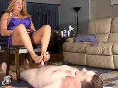 Step Mom Gives Cuck Slick Footjob