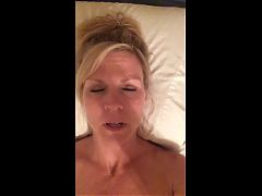 Sexy hot milf records herself cumming while talking dirty
