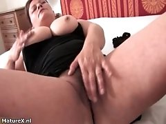 Horny Experienced Woman With Huge Melons Is Rubbing Her