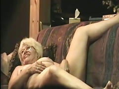Granny masturbates and sucks cock