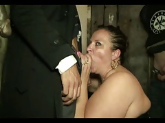 Mature slut gangbanged in the basement