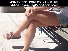 Sexy Candid Legs In The Street! Teen Amateur Teen Cumsh