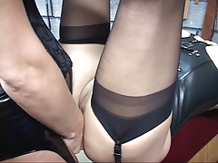 Corseted Gartered C Cup BDSM Redhead Spreads Her Legs For Brunette's Strap On