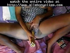 Australian Chick Playing With Vibe Black Ebony Cumshots