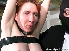 Nasty kinky redhead milf slut gets bondage and gets her