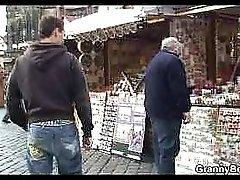 Granny Tourist Jumps On Cock