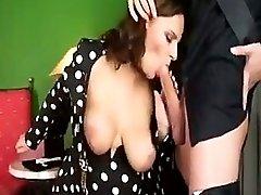 Sexy busty milf gets boy so hot he cums twice